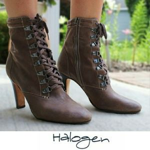 👢HALOGEN👢 Leather Ankle Heel Bootie Victorian